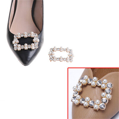 1PC Shoe Clips Rhinestones Metal Faux Pearl Bridal Prom Shoes Buckle Decor GY