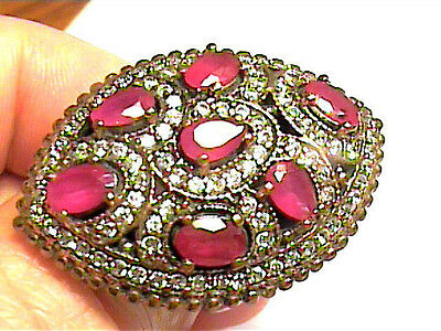 VINTAGE ANTIQUE RUBY 10 SILVER RING MEDIEVAL NATURAL SAPPHIRE STERLING 925 big