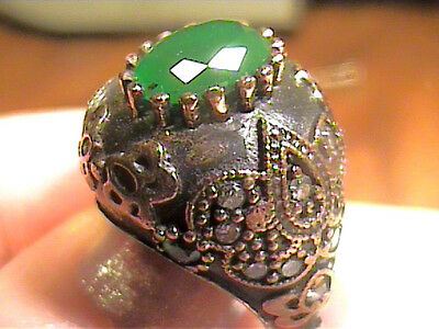 Vintage Antique  Emerald Silver 7.25 Ring 925 Medieval  Big Sapphire Sterling 92