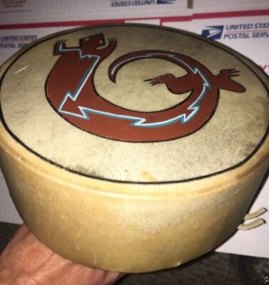 Vintage Native American Indian Hand Made Drum Animal Hide Skin Painted Lizard