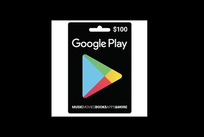 Google Play Gift Card $100, No fees, No expiration date.