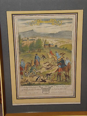 "18th Century Hand Coloured Engraving ""Death Of Ye Hare With Fleet Hounds"""