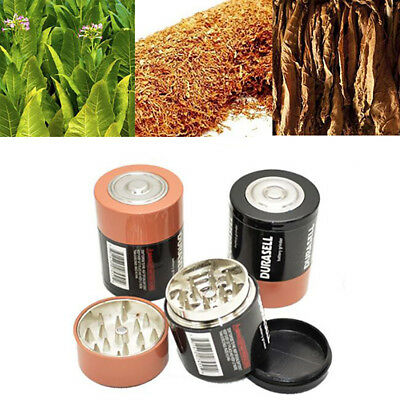 3 Layer battery tobacco grinder herbal herb smoke spice crusher hand E&F