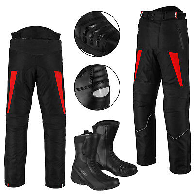 Motorbike Waterproof Trouser Motorcycle Leather Shoes Touring Boots CE Armoured