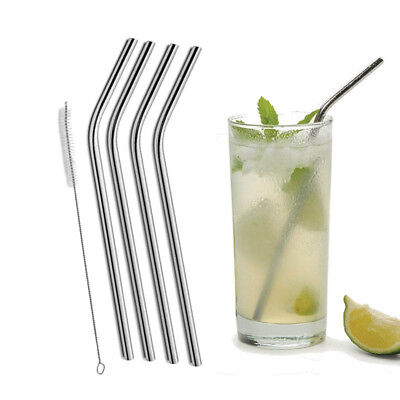 4X Stainless Steel Straws Brush Metal Drinking Straw Bent Reusable Washable