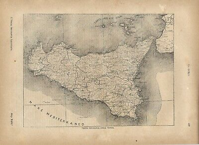 Carta geografica antica SICILIA 1891 Old antique map