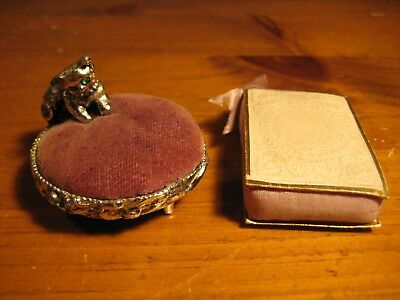2 Antique / Vintage Pin Cushions Victorian Card And Satin And Novelty Cat