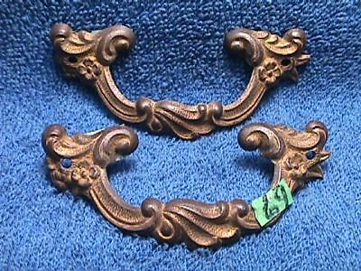 2 ANTIQUE Solid BRASS Art NOUVEAU Victorian Highly ORNATE Drawer PULLS Signed