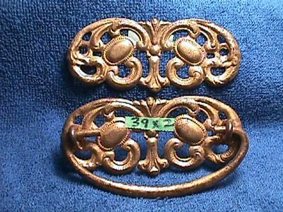 2 MATCHING Antique METAL Victorian ART Nouveau ORNATE Drawer BACKPLATES + 1 Pull