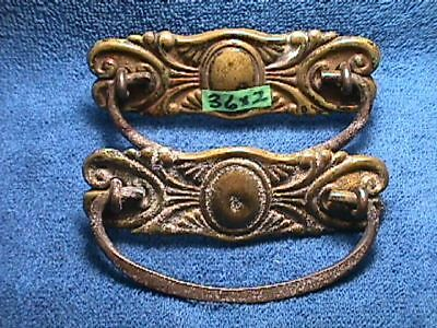 2 MATCHING Antique BRASS Victorian ART Nouveau ORNATE Drawer BACKPLATES + Pulls