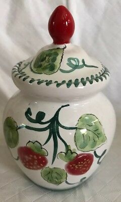 """HANDPAINTED Pottery JAM JELLY JAR POT with LID Strawberries Italy 5"""" Tall"""