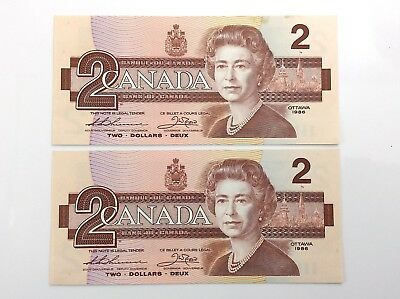 1986 Canada 2 Consecutive Two Dollar Canadian Bill Note Series BBG Banknote I107