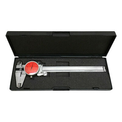 RED Face 0-6'' stainless Steel 4 Way Dial Caliper Shock Proof 0.001'' GRAD
