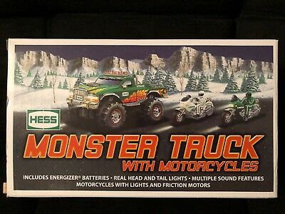 BRAND NEW 2007 HESS MONSTER 4x4 TRUCK WITH 2 MOTORCYCLES MINT NEVER OPENED