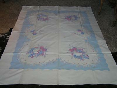 """Vintage 1940's Cotton Fruit Blue Pear Print Tablecloth Shabby French 72"""" x 56"""""""