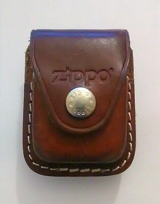 Zippo lighter Holster, Brown Leather Case with belt clip Made in USA,