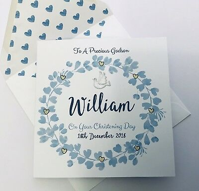 Personalised Boy Christening Baptism Dedication Confirmation Card Godson Boy