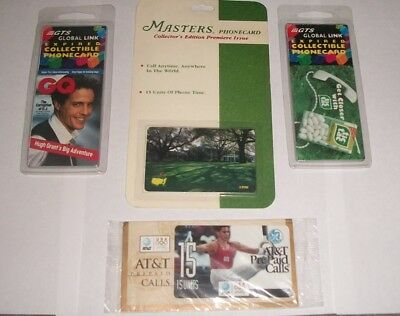 1996 Masters (Golf) Plus Olympics & GTS collectible phone cards (Set of 4)