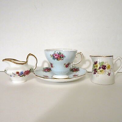 Lot 3 Vintage China Creamers Taylor Kent Lord Nelson & Cup Saucer Foley Roses
