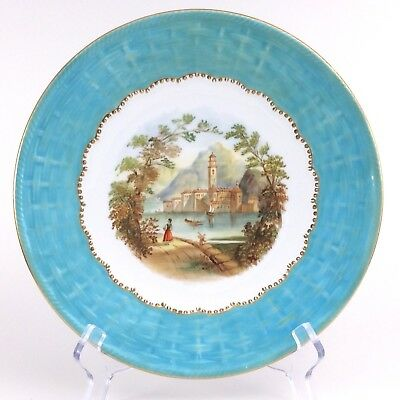 Antique Charles Ford Hand Painted Wicker Design Aquamarine Trim 9 in Plate I094