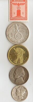 """-*free *egyp. """"Cleo""""  BRASS coin + *WW2 - *german  SILVER  EAGLE coin/stamp"""