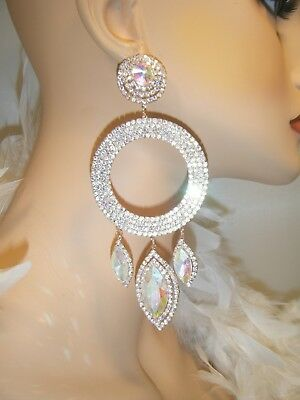 Ab Gold Chandelier Rhinestone Earrings Pageant Bridal Costume Stage Drag Queen