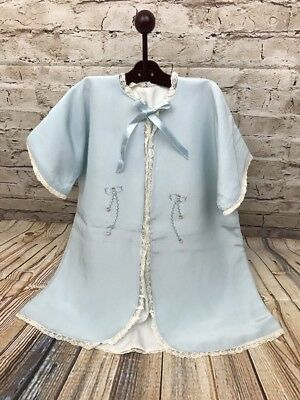 """Vintage Baby Christening Blue Gown Jacket Tie Closure 18"""" Length 12"""" Underarms"""