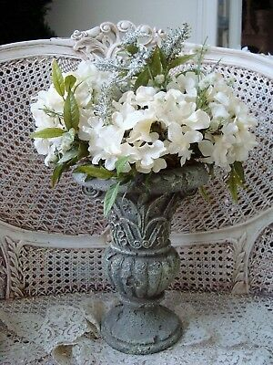 Beautiful Shabby Faux Flower Arrangement In Old World Style Urn ***so Pretty**