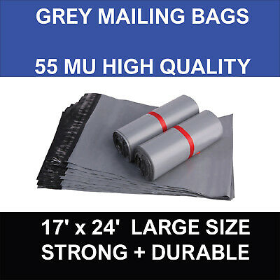 """Strong Grey Mailing Bags 17"""" X 24"""" Poly Postal Postage Self Seal Packaging Sacks"""