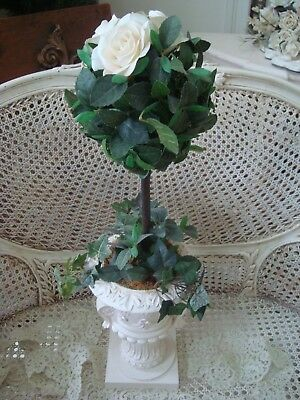 Beautiful Faux Flower Topiary Plant In Shabby Urn ***elegant & Unique****