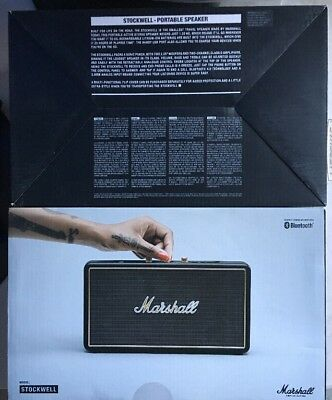 Marshall Stockwell Portable Bluetooth Speaker Black 4091390, NEW SHIP FROM STORE