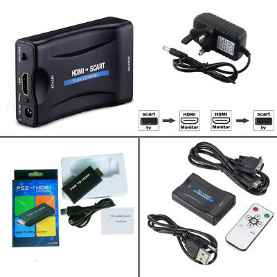 VGA to SCART to HDMI PS2 Audio Video Converter USB Cable HDTV DVD SKy PS3 UK