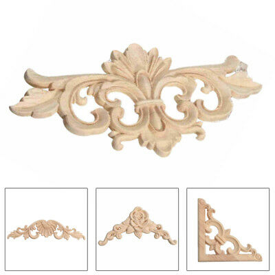 1pc Carved Unpainted Wood Applique Door Wall Furniture Onlay Frame Corner Decor