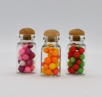 Dolls House Miniature Sweets Glass Jars with Stoppers Kitchen Chocolate Food