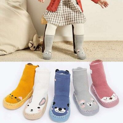Kids Toddler Baby Girls Boy Cartoon Thick Winer Warm Anti-Slip Socks Slippers BF