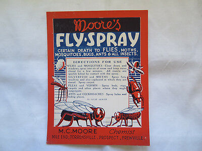 Moore's Fly-Spray Flys Moths Mossies Bugs Ants Mc Moore Chemist Sth Aust Label