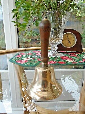 Small Antique Brass Bell With Turned Wooden Handle