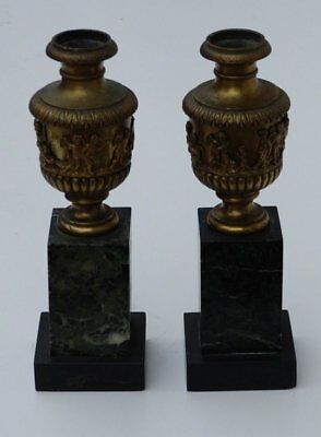 Antique Pair of French Bronze and Marble Cassolettes Mantle Ornaments