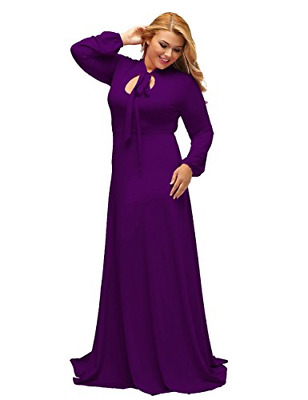 94da3872e49 Lalagen Women s Vintage Long Sleeve Plus Size Evening Party Maxi Dress Gown  XXL