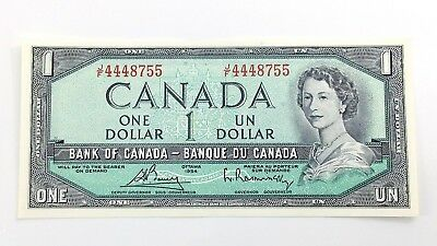 1954 Canada 1 One Dollar JF Prefix Canadian Uncirculated Currency Banknote I118