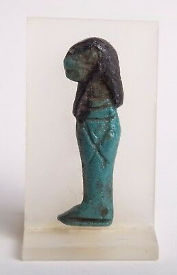 Ancient Egyptian Green Glaze Faience Amuletic Plaque of Imsety Late Period,