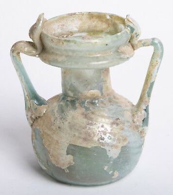 Ancient Roman Green Glass Jar Holyland, Circa 1st to 3rd Century AD.