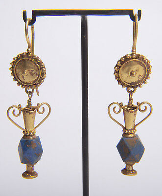 Ancient Roman Pair of Gold & Lapis Earrings Circa 1st to 3rd Century AD.