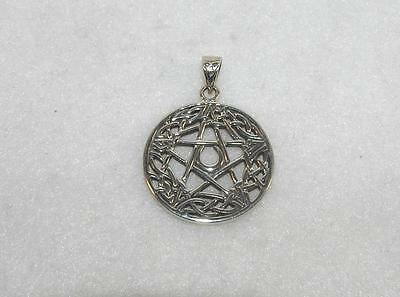Celtic Trinity Knot Pentacle Pendant Crescent Moon Sterling Silver