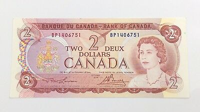1974 Canada 2 Two Dollar BP Prefix Canadian Uncirculated Currency Banknote I126