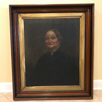 Antique 19th C. Portrait of a Lady Oil on Canvas Painting