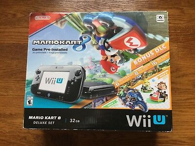 Nintendo Wii U Deluxe 32GB Black Console System Mario Kart 8 BRAND NEW SEALED