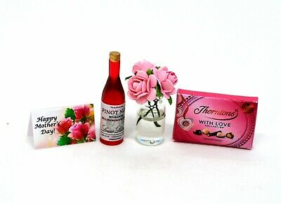 Dolls House Miniature Roses Wine Prosecco Card Birthday Gift Sweets Chocolate