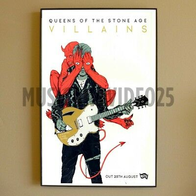 Queens of the Stone Age FRAMED POSTER Villains Album Promo RARE QOTSA