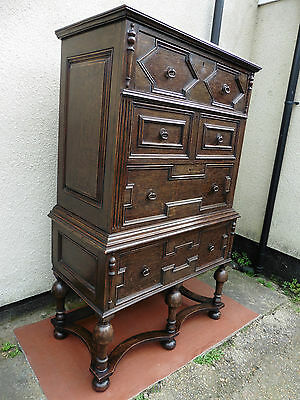 Antique Oak Chest On Chest, Chest Of Drawers, 4 Long Drawers, Jacobean Style